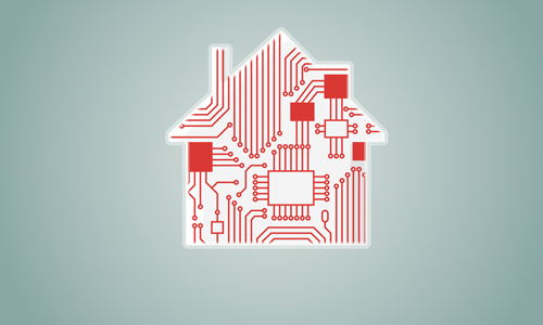 Illustration of a circuit board shaped like a house